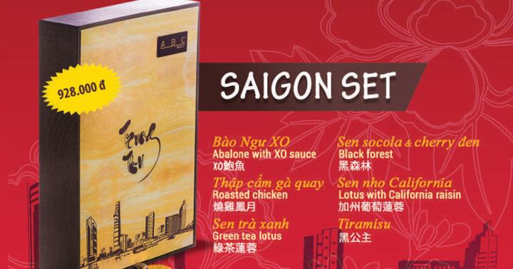 SaiGon Set Bào ngư nguyên con, Thập cẩm gà quay, Sen trà xanh, Sen socola và cherry đen, Tiramisu