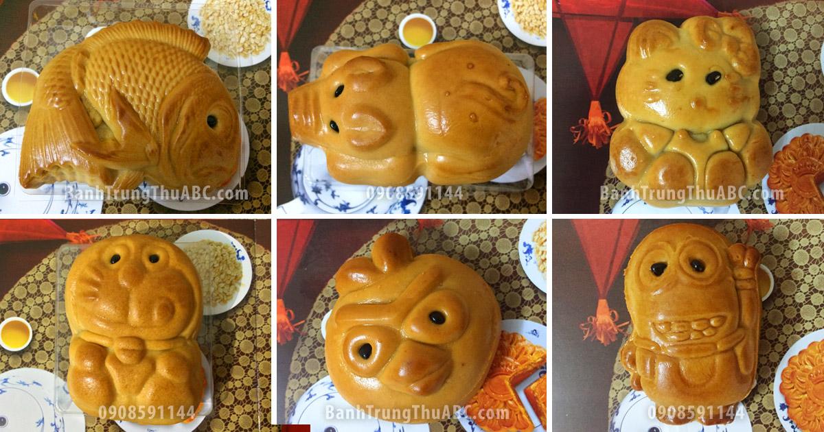 Bánh trung thu dành cho thiếu nhi ABC: Cá Koi, Heo con, Mèo Kitty, Doremon, Angry Bird, và Minion